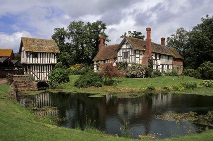 View of the moated house built for John Domulton, Brockhampton family descendant