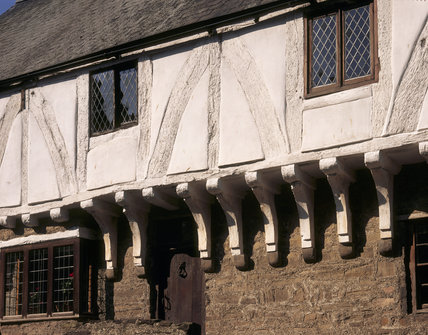 Close view of the details of the timbers of the Aberconwy House, which is the oldest building in Conwy