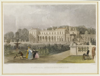 CLUMBER PARK by Thomas Allom (1804-1872), engraved by W Watkins from Mr Straw's House