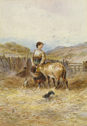 GIRL FEEDING CALF by Miles Birkett Foster (1825-1899) from the parlour at Mr Straw's House