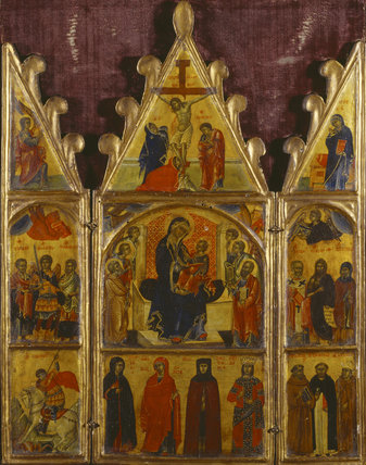 THE MADONNA AND CHILD WITH SAINTS (Triptych), Italo-Byzantine, early 14th-century