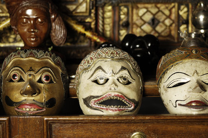 Part of the collection of Javanese and Balinese (Wagang and Topeng) theatre masks in Seraphim, Snowshill Manor