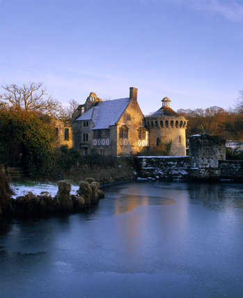Scotney Castle viewed from across the moat in winter