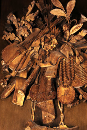 Late C17th wood carving by Grinling Gibbons in the Carved Room at  at Petworth House