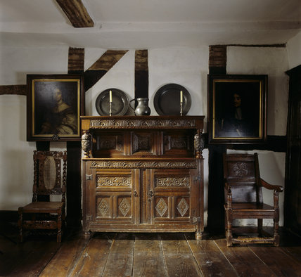 A 17th Century Carved Oak Court Cupboard In Mr Whitgreave
