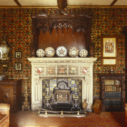 View of the neo tudor fireplace in the library at oxburgh for Tudor style fireplace