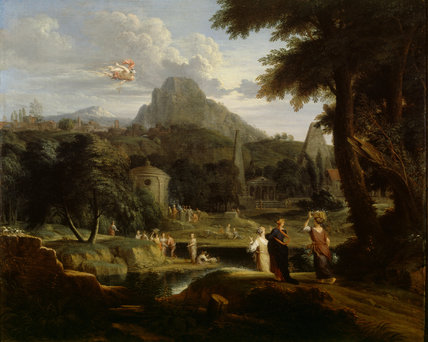 CLASSICAL LANDSCAPE WITH MERCURY CATCHING SIGHT OF HERSE attributed to Jan Glauber in the Drawing Room at Erddig