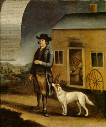 WILLIAM WILLIAMS, BLACKSMITH by John Walters of Denbigh, 1793, standing outside his workroom with his dog