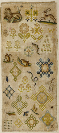 Sampler, undated, mid 17th-century, from Montacute House