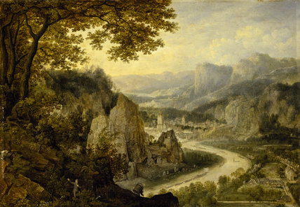 VIEW ON THE MEUSE WITH COAL MINERS by Lucas van Valkenborch, (before 1530/35 - 1597) from Felbrigg Hall