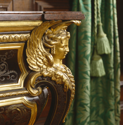 Close-up of Boulle commode in the Carved Room at Petworth