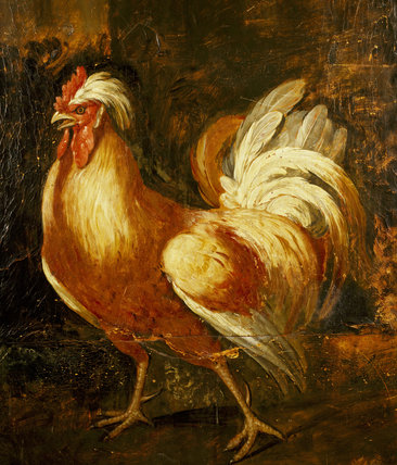 Painting of a Chanticleer on a screen an 18thC screen at Dunster Castle