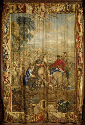 'Attaque', one of 'The Art of War' tapestries in the Hall woven in Brussels by Le Clere & Van der Borch from cartoons by Lambert de Hondt, c 1710