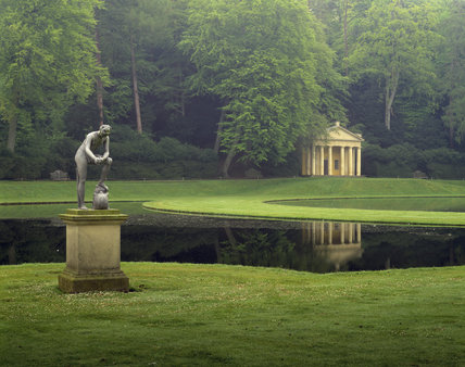 The Water Garden At Fountains Abbey With The Classical