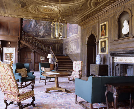 The Hall looking towards the Painted Staircase at Hanbury Hall