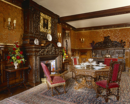 The Small Dining Room at Oxburgh Hall, fifteenth-century moated manor house, King's Lynn, Norfolk