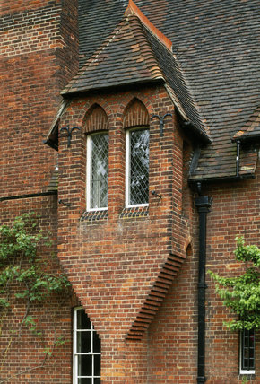 Detail Of Windows On The West Front Of Red House Built Of