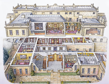 Cut Away Perspective Drawing Of Dyrham Park By Peter