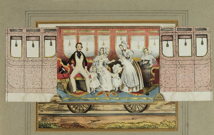 QUEEN VICTORIA, PRINCE ALBERT & PRINCESSES ON TRAIN Coloured print of cut-away section of railway carriage & occupants