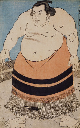 A Japanese Print, showing a sumo wrestler one of a collection of prints housed at Standen