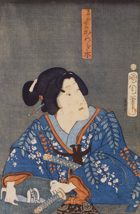 A Japanese Print, showing a woman with a sword and basket one of a collection of prints housed at Standen