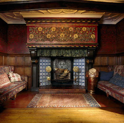 The Blue Tiled Inglenook Fireplace With Stone Manetlpiece