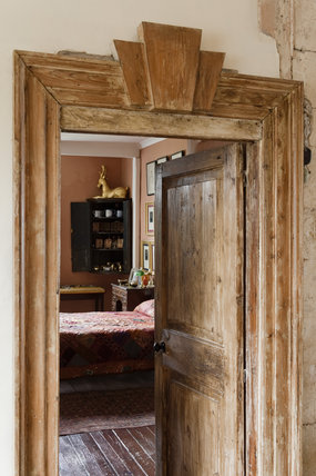 Looking Through A Doorway Into The Tudor Bedroom At Newark