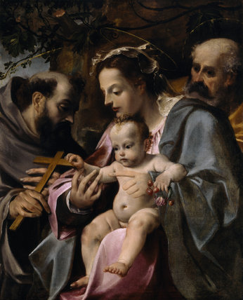 HOLY FAMILY WITH ST FRANCIS attributed to Annibale Carracci (1560-1609)