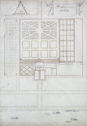John Slezer and Jan Wyck plan for the garden, c.1671-2, in the Library Closet at Ham House, Richmond-upon-Thames
