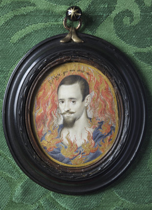 MAN CONSUMED BY FLAMES by Isaac Oliver (1556?-1617), miniature painting in the Green Closet at Ham House, Richmond-upon-Thames