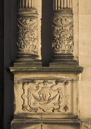 Decorative base of the columns on the exterior of dunham for Exterior decorative columns