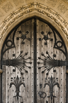 Decorative Ironwork On The Wooden Door Of St Mary S Church