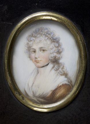 MARIA, LADY WALDERGRAVE, an oval miniature, British School, c.1780, at Berrington Hall, Herefordshire.