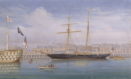 ERMINIA MOORED AT MALTA, by D.C. Simone, 1869.