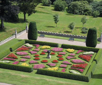 View Of The Colourful Plantings In The Geometric Box Edged