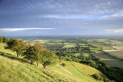 View north over the Weald from Fulking Escarpment, South Downs, West Sussex