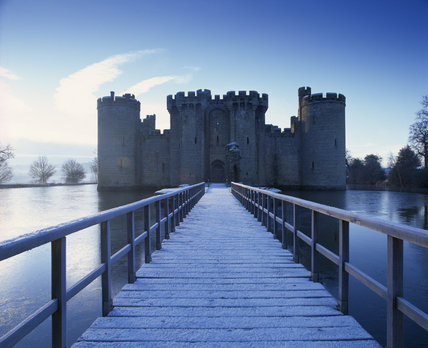 A View Taken In Winter Across The Moat Bridge To The