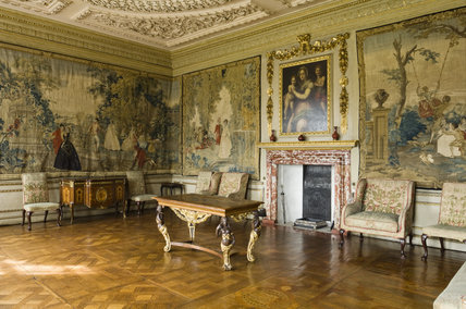 The Queen S Bedchamber With A Red And White Marble