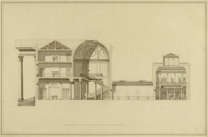 ARCHITECTURAL PLANS OF THE HOUSE by George Steuart in the West Passage at Attingham Park, illustrating the developments to the building of Attingham in the 1780s