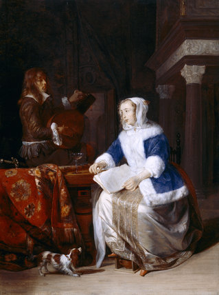 'LE CORSET BLEU' by Gabriel Metsu (1628-1667) from Upton House Photographed in March 1995, post-conservation