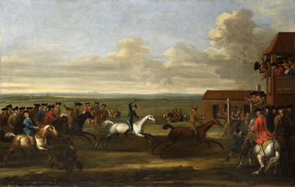 HORSE RACE AT NEWMARKET by James Seymour (1702-1752) at Petworth H