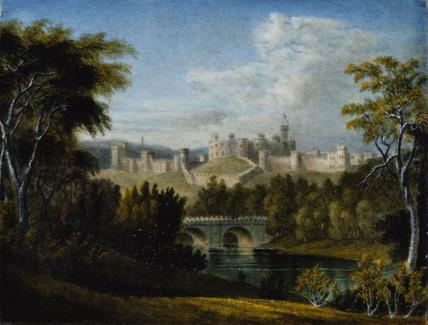 ALNWICK CASTLE, NORTHUMBERLAND a landscape miniature by J.Owen, c.1810-20