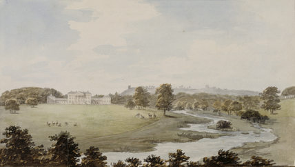 VIEW FROM TERN BRIDGE, plate V, from Repton's Red Book at Attingham Park