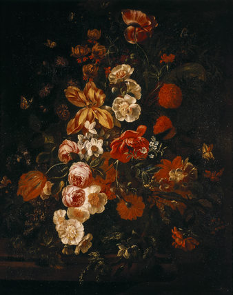 AN ARRANGEMENT OF TULIPS, ROSES AND POPPIES by an unknown monogrammist PHK