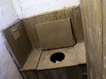 The wooden lavatory used by workers at Quarry Bank Mill, Styal