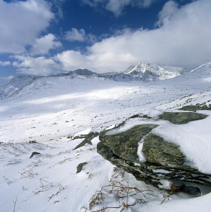 A view of Snowdon in the snow, at Crib Goch