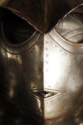Close view of a Savoyard helmet of 1602 in Dragon at Snowshill Manor