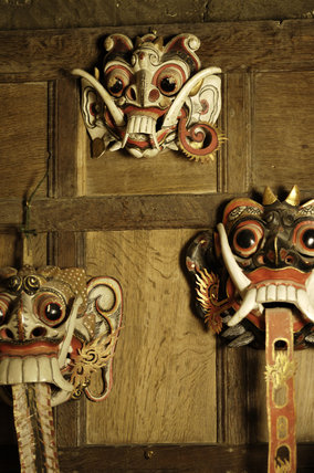 Ceremonial  angda masks from Java, part of the Charles Wade collection, in Seraphim at Snowshill Manor, Gloucestershire