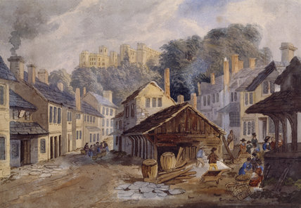 WATERCOLOUR OF DUNSTER CASTLE AND SHAMBLES