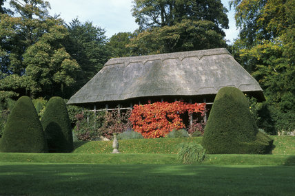 View of the Hawk House on the Upper Lawn in the garden at Chirk Castle